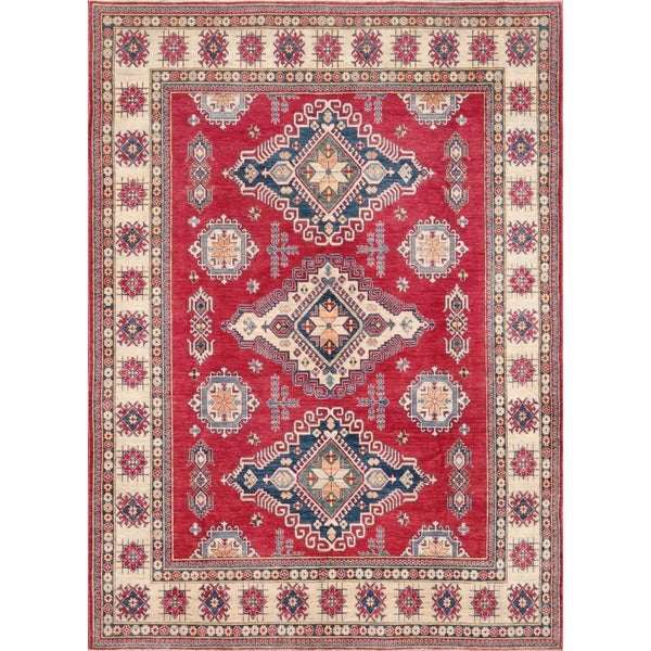 Pasargad Caucasian Kazak Hand-knotted Rust/ Ivory Wool Geometric Rug - 10' x 14'
