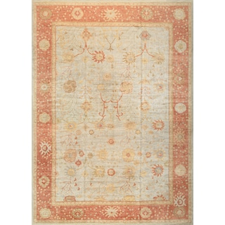 Pasargad Turkish Oushak Hand-knotted L.blue-coral Wool Rug (13' x 18')