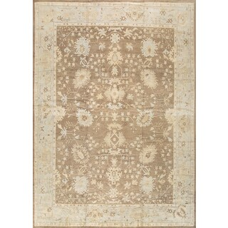 Pasargad Turkish Oushak Hand-knotted Brown-l.blue Wool Rug (13' x 18') - 13' x 18'