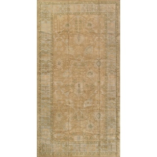 Pasargad Turkish Oushak Hand-knotted L.brown-l.blue Wool Rug (8' x 15')