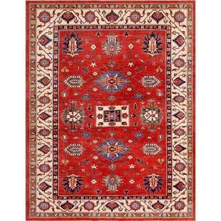 Pasargad Geometric Kazak Hand-knotted Rust-beige Wool Area Rug (9' x 12')