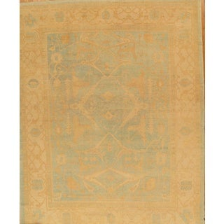 Pasargad Turkish Oushak Hand-knotted L.blue-beige Wool Rug (11' x 15')