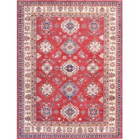 Pasargad Hand-knotted Tribal Kazak Rust-ivory Wool Area Rug (9' x 12')