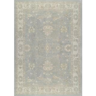 Pasargad Turkish Oushak Hand-knotted L.blue-ivory Wool Rug (11' x 15')