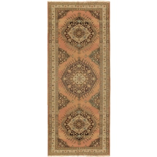 Pasargad Turkish Oushak Hand-knotted Salmon-ivory Wool Rug (5' 2 x 13)