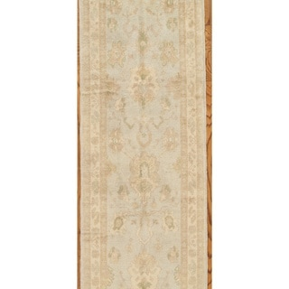 Pasargad Turkish Oushak Hand-knotted L.blue-ivory Wool Rug (2' 11 x 15)