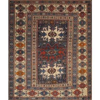 Pasargad Kazak Hand-knotted Navy-ivory Lamb's Wool Area Rug (4' x 4')