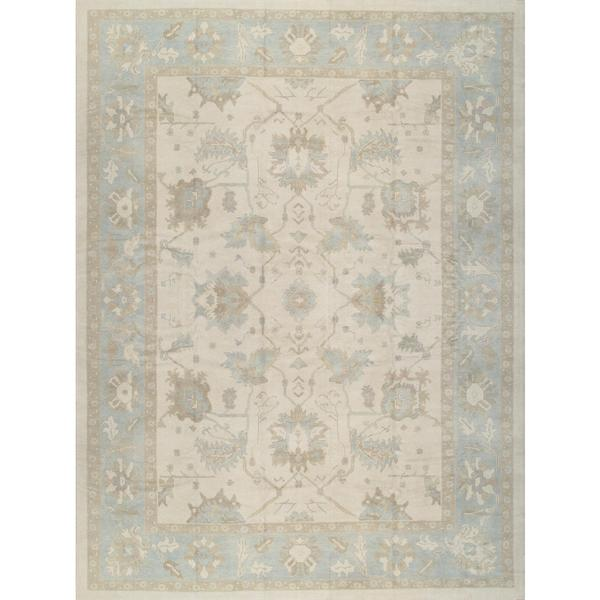 Pasargad Turkish Oushak Hand-knotted Ivory-l.blue Wool Rug (11' x 15')