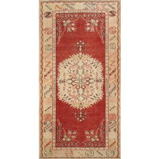 Pasargad Turkish Oushak Hand-knotted Coral-beige Wool Rug (3' x 7')