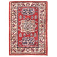 Pasargad Kazak Hand-knotted Rust-ivory Wool Area Rug (4' x 6')