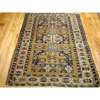 Pasargad Kazak Hand-knotted Blue-ivory Lamb's Wool Area Rug (4' x 5')