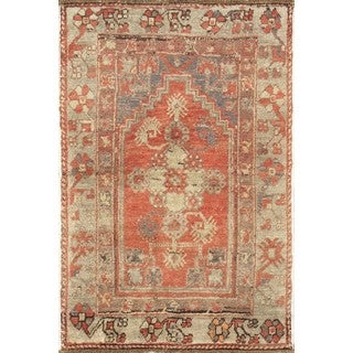 Pasargad Turkish Oushak Hand-knotted Coral-beige Wool Rug (3' x 6')