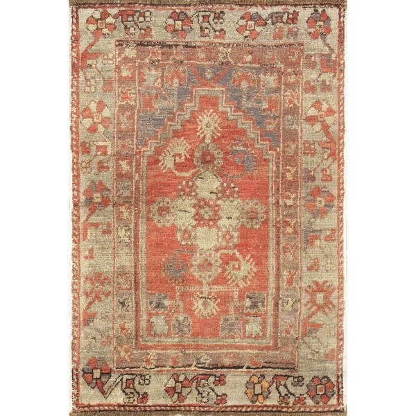Shop Pasargad Turkish Oushak Hand Knotted Coral Beige Wool