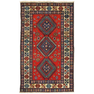 Pasargad Kazak Hand-knotted Red-ivory Lamb's Wool Area Rug (4' x 7') - 4' x 7'