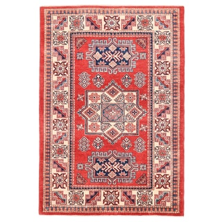 Pasargad Kazak Hand-knotted Rust/ Ivory Wool Area Rug (4' x 6')