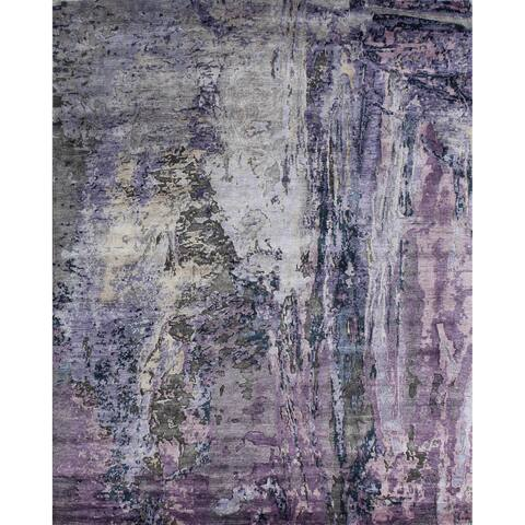 Pasargad Home Collection Modern Hand-knotted Silk Area Rug- 9' x 12' - 9' x 12'
