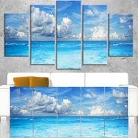 Bright Blue Waters and Sky Panorama - Modern Seascape Canvas Artwork