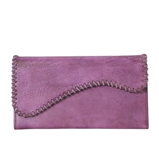 Rimen & Co. Genuine Leather Edging Design Bifold Wallet (Option: Purple)