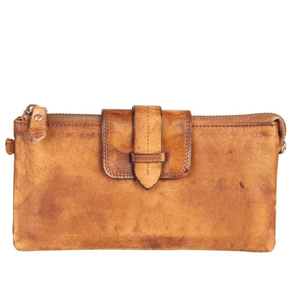 ebbe9443 Shop Diophy High-quality Fashion Vintage-dye Leather Clutch Wallet ...