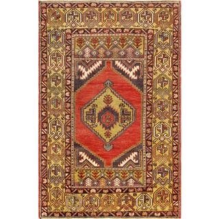 Pasargad Turkish Oushak Hand-knotted Coral-gold Wool Rug (4' x 6')