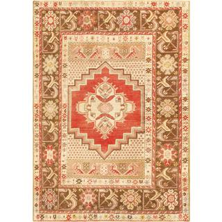 Pasargad Turkish Oushak Hand-knotted Coral-brown Wool Rug (4' x 6')