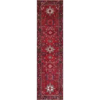 Vintage Persian Karajeh Red-navy Wool Runner Rug (3' 7 x 13' 10)