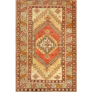 Pasargad Turkish Oushak Hand-knotted Coral-beige Wool Rug (4' x 7')
