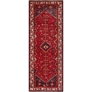 Vintage Persian Shiraz Rust-beige Wool Runner Rug (3' 9 x 9' 9)