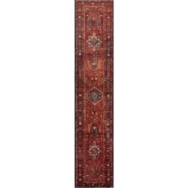 Vintage Persian Karajeh Rust Wool Runner Rug (3' x 14' 10) - 3' x 14'10