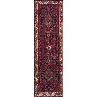 Vintage Persian Hamadan Navy-ivory Wool Runner Rug (3' 8 x 12' 2)