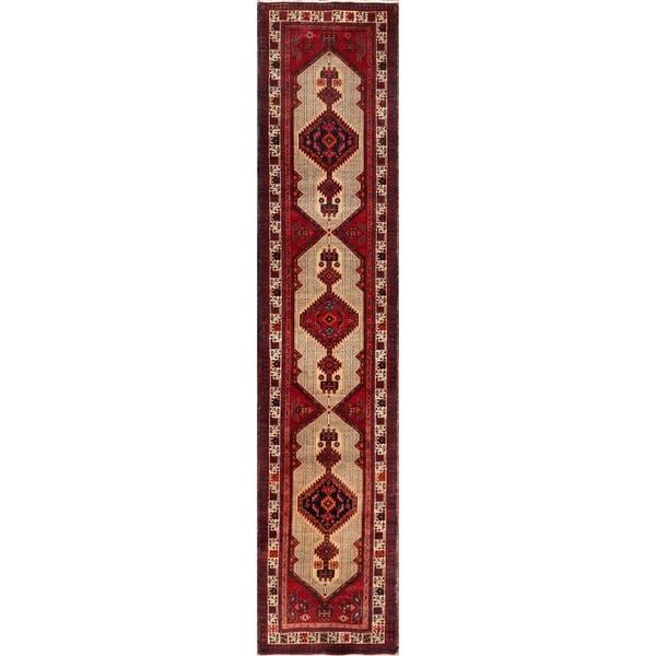 Vintage Persian Serab Camel-ivory Wool Runner Rug (3' 1 x 14' 3) - 3' 1 x 14' 3