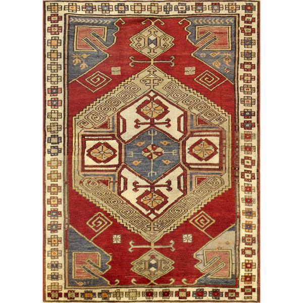 Vintage Kazak Wool Rust-ivory Area Rug (4' 1 x 5' 9)