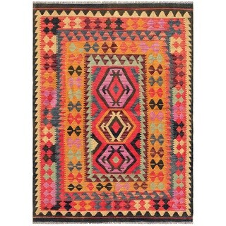 Pasargad Turkish Kilim Hand-knotted Multi Color Area Rug (4' 9 x 6' 7)