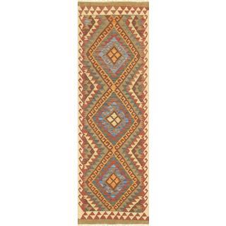 Pasargad Turkish Kilim Hand-knotted 3 Medallion Multi Runner Rug (2' x 6' 6)
