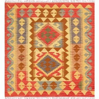 Pasargad Turkish Kilim Hand-knotted Square Multi Rug (2' 9 x 2' 11)