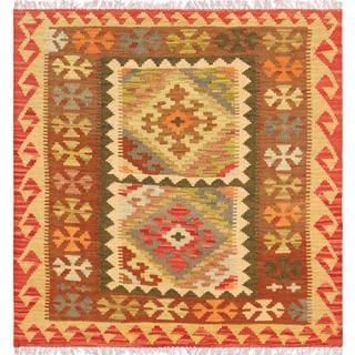 Pasargad Turkish Kilim Hand-knotted 2 Medallion Square Multi Rug (2' 9 x 2' 11)
