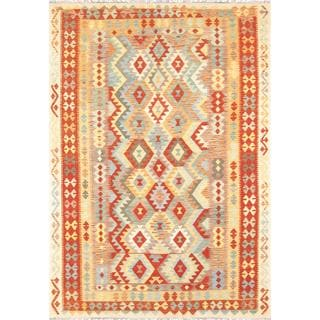 Pasargad Turkish Kilim Hand-woven Red Area Rug (6' 8 x 9' 7)