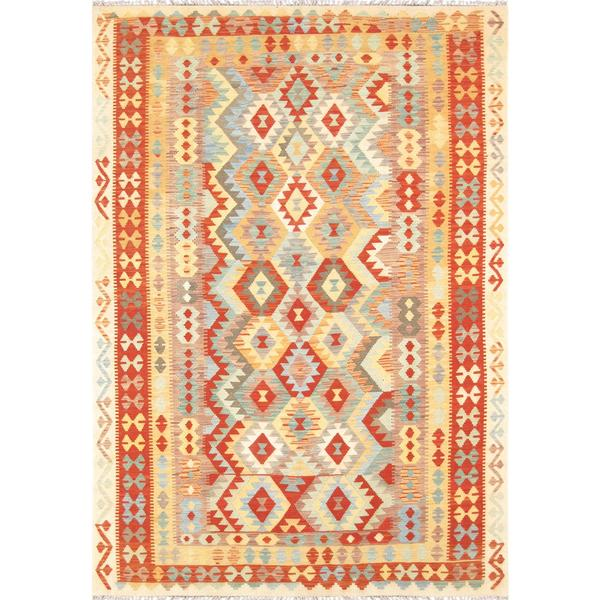 Pasargad Turkish Kilim Hand-woven Red Area Rug - 6' 8 x 9' 7