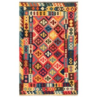 Pasargad Turkish Kilim Hand-woven Pink/ Blue Rug (4' 5 x 7' 2)