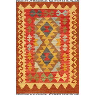 Pasargad Turkish Kilim Hand-woven Brown/ Multi Rug (2' x 3' )