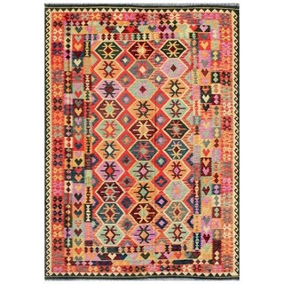Pasargad Turkish Kilim Hand-woven Red/ Multi Rug (8' x 11' 8)