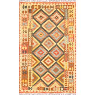 Pasargad Turkish Kilim Hand-woven Brown/ Multi Rug (4' 4 x 7' )