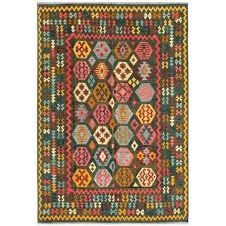 Pasargad Turkish Kilim Hand-woven Green/ Multi Rug (7' 7 x 11' 4)
