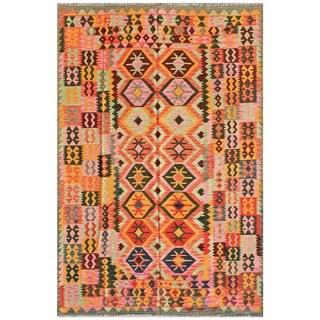 Pasargad Turkish Kilim Hand-woven Pink/ Multi Rug (6' 6 x 9' 11)
