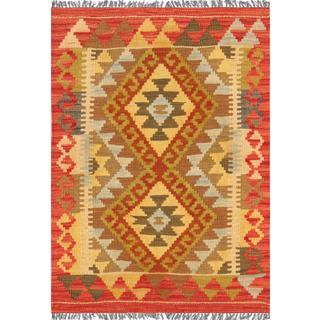 Pasargad Turkish Kilim Hand-woven Yellow/ Multi Rug (2' 1 x 2' 11)