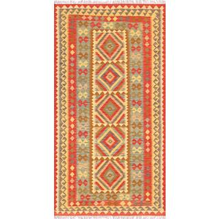 Pasargad Turkish Kilim Hand-woven Red/ Multi Rug (3' 5 x 6' 7)
