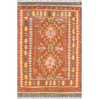 Pasargad Turkish Kilim Hand-woven Brown/ Multi Rug (3' 3 x 4' 11)