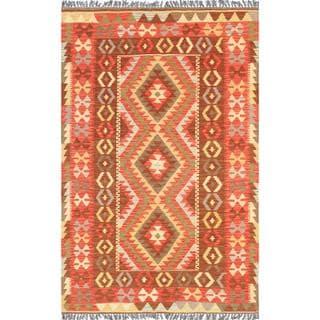 Pasargad Turkish Kilim Hand-woven Red/ Multi Rug (3' 3 x 5' 1)