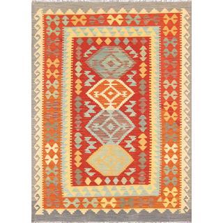 Pasargad Turkish Kilim Hand-woven Red/ Grey Rug (4' 2 x 5' 8)