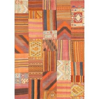 Pasargad Vintage Patchwork Wool Multi Area Rug (5' 7 x 8' 2)